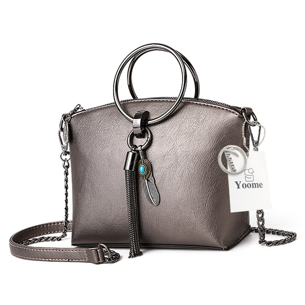 Yoome Women Tassel Handbags Fashion Top Handle Bags Crossbody Shoulder Bag With Metal Chain Strap Satchel Handbags Ring Bags For Girls