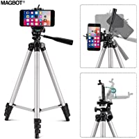 MAGBOT Adjustable Tripod Stand Holder for Mobile Phones & Cameras, 360 mm -1050 mm, 1/4 inch Screw Metal Body + Mobile Holder Bracket (Silver and Black) with Bag