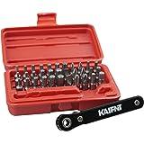 KAIFNT K402 Screwdriver Bit Set with Mini Ratchet Wrench, 1/4-Inch Drive, 34-Piece