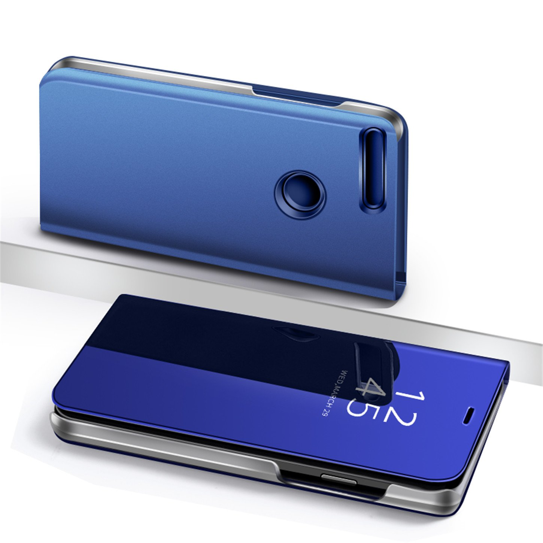 Funda para Huawei Y6 2018,Blateado Tianyan Funda para Honor 7A//Huawei Y6 2018,Espejo Clear View Flip Cover Carcasa Plegable Soporte