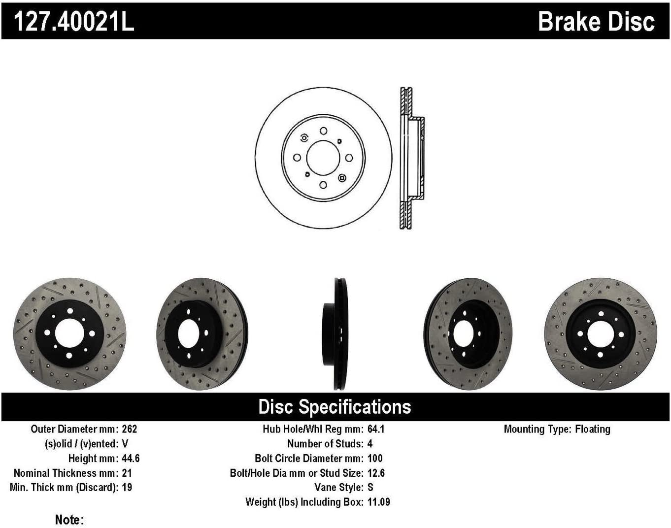 StopTech 127.40021L Sport Drilled//Slotted Rotor Front Left