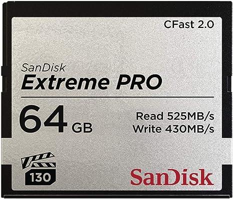 Sandisk Extreme PRO CFast 2.0 Scheda di Memoria da 256 GB fino a 525 MB//sec