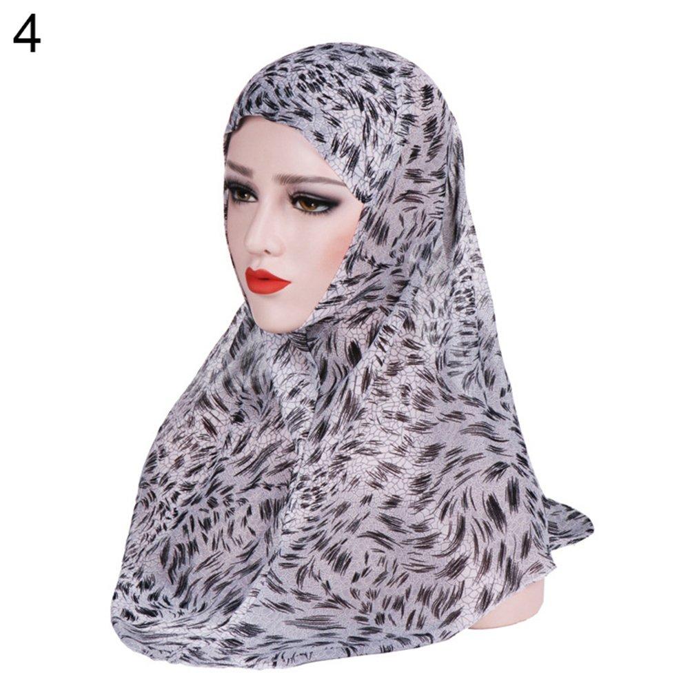 AkoMatial Chiffon Printed Chiffon Scarf Muslim Hijab Head Wrap Hat Shawl Headwear for Women