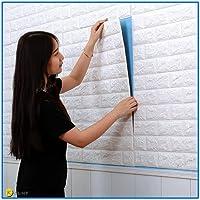Carta da Parati Mattoni Bianco 3D, Kasliny parete smontabile e bastone adesivo per parete in PE a schiuma per ufficio di casa di soggiorno (bianca onda 5 pezzo)
