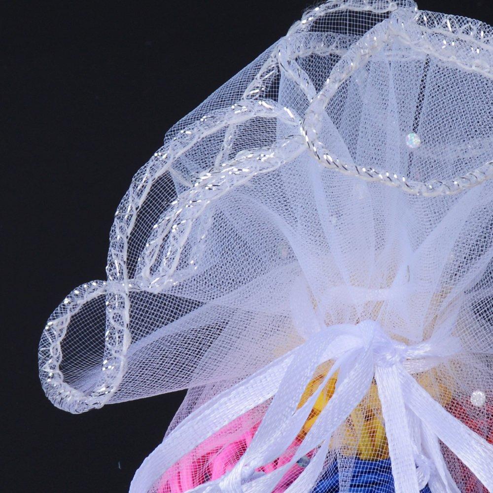100Pcs Bolsas Bolsitas de Organza Boda Blanco Diámetro de 26cm para Joyas Regalo Arroz Recuerdo para Invitados Boda Navidad Fiesta Bautizo con Cintas