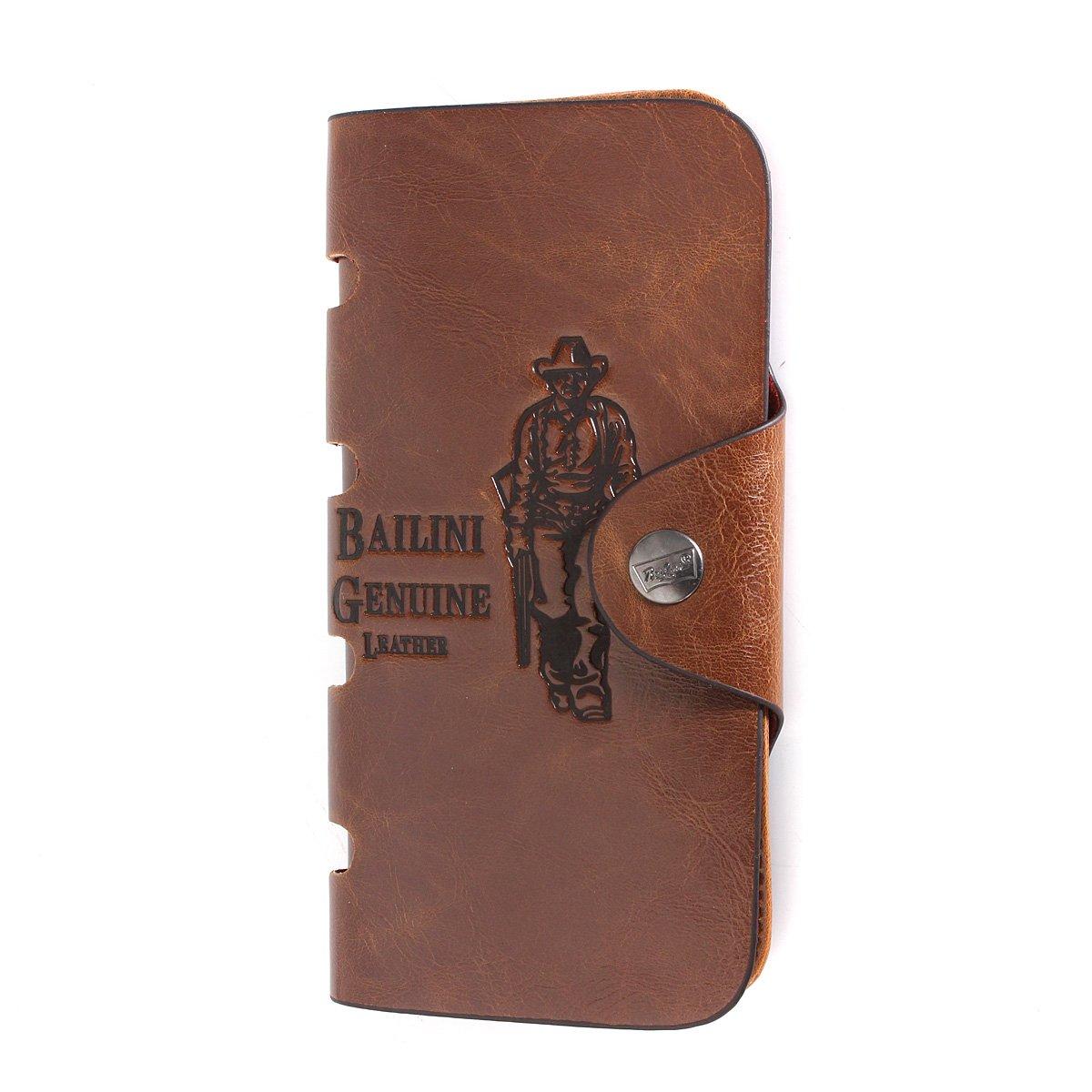 OURBAG Cartera larga de cuero para hombres Bolsillos Embrague de la tarjeta de identificación Monedero Bifold marrón: Amazon.es: Equipaje