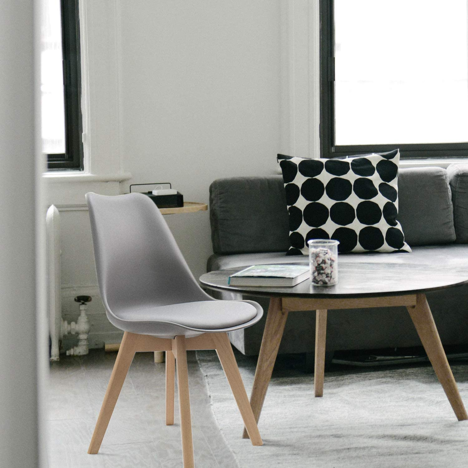 Furmax Mid Century Modern DSW Dining Chair Upholstered Side Chair with Beech Wood Legs and Soft Padded Shell Tulip Chair for Dining Room Living Room Bedroom Kitchen Set of 4 Gray