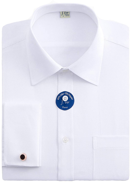 J Men's Doble Manguito Negocios Camisas de Vestir Formales con Gemelos de Metal Ajuste Regular Manga Larga - Color:Blanco, tamaño:EU 41 - Ärmellänge 89 cm
