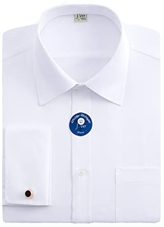 2396fc03 J.VER Men's Double Cuff Regular Fit Formal Dress Shirts Include Metal  Cufflinks French Cuff