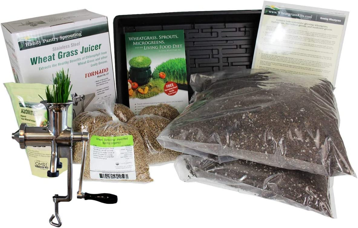 Handy Pantry Organic Wheatgrass Growing Kit & Stainless Steel Manual Tornado Juicer - Grow & Juice Wheat Grass Product Name