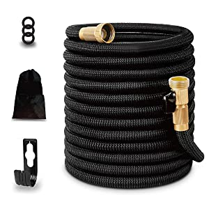 25ft Garden Hose,Expandable and Flexible Water Hose, Strongest Triple Later Core with 3/4 Solid Brass Fittings,Heavy Duty Fabric for Watering Garden,Cleaning