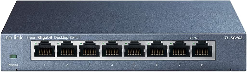 TP-Link 8-Port Gigabit Ethernet Network Switch, Sturdy Metal w/Shielded Ports, Unmanaged (TL-SG108E), Black