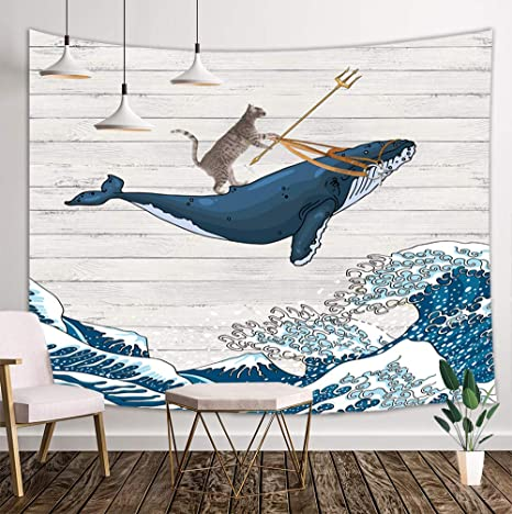 Funny Cat Tapestry, Cat Riding Whale in Ocean Wave on Vintage Wooden Wall Tapestry, Oriental Vintage Kanagawa Japanese Wave Art Tapestry, Tapestry Wall Hanging for Bedroom Living Room Dorm (71
