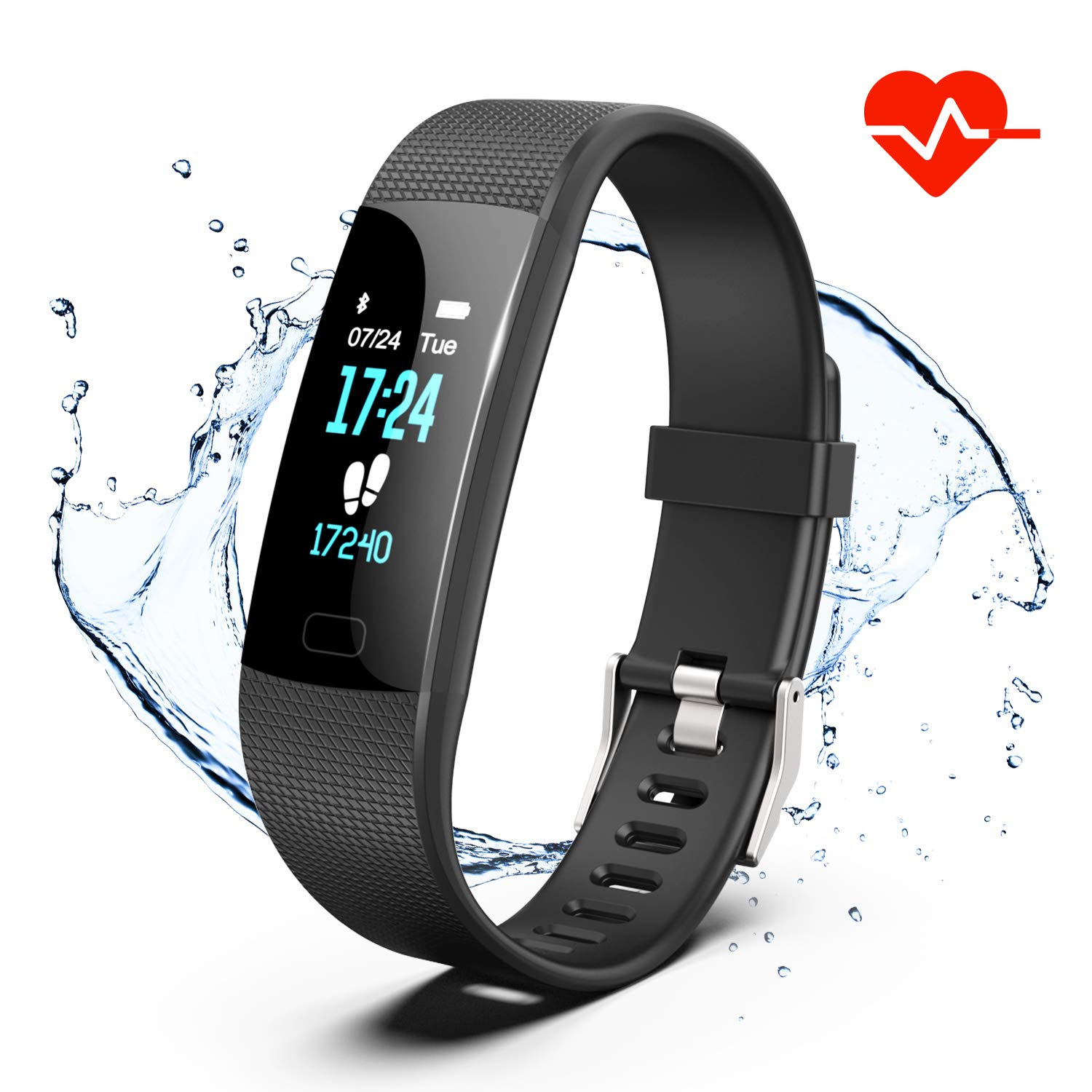 Fitness Tracker HR, Y1 Activity Tracker Watch with Heart Rate Monitor, Pedometer IP67 Waterproof Sleep Monitor Step Counter for Android iPhone