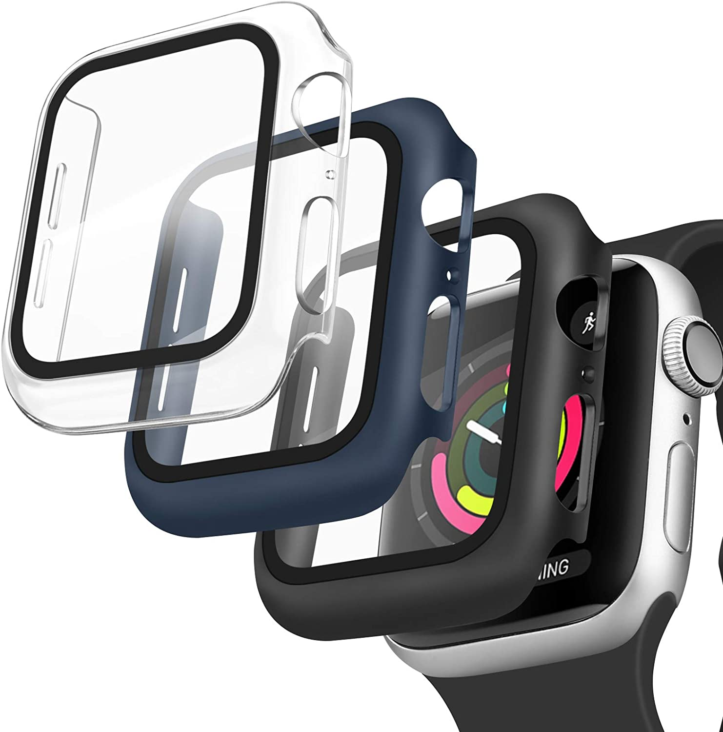 [3 Pack] Oumida 42mm 38mm Case Compatible with Apple Watch Series 3 2 1 for Women Men, iWatch Cases 42mm 38mm Hard Cover with Tempered Glass Screen Protector (Clear, Black, Navy Blue, 42mm)