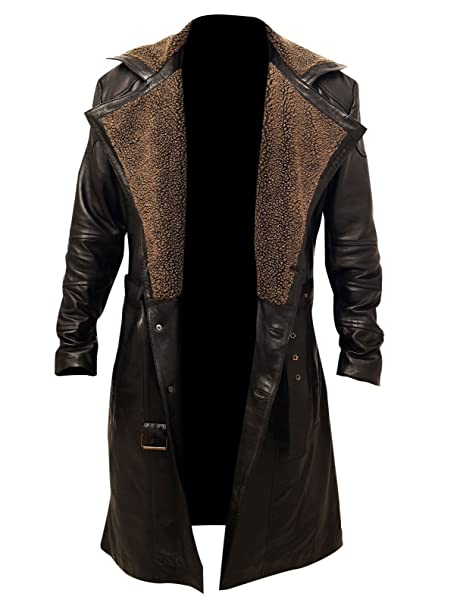 880d70eceab5 Men s Blade Runner 2049 Ryan Gosling Fur Lapel Collar Trench Leather Coat   Amazon.ca  Clothing   Accessories