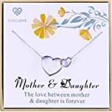 CHICLOVE Mother and Daughter Necklace with 925 Sterling Silver Interlocking Hearts