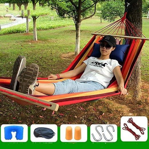 LYDIANZI Jardín Hamaca con la propagación de Madera Barras Compacto Sola Hamaca con Bolsa de Viaje Perfecto for Patio Patio Aire Libre 200 * 80cm: Amazon.es: Hogar