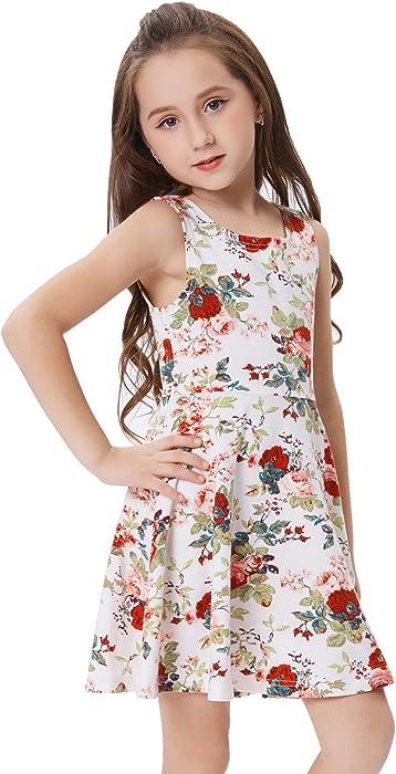 8491328c7031f Grace Karin キッズ ガールズ ドレス ノースリーブ クルーネック 花柄 Aライン ドレス ワンピース