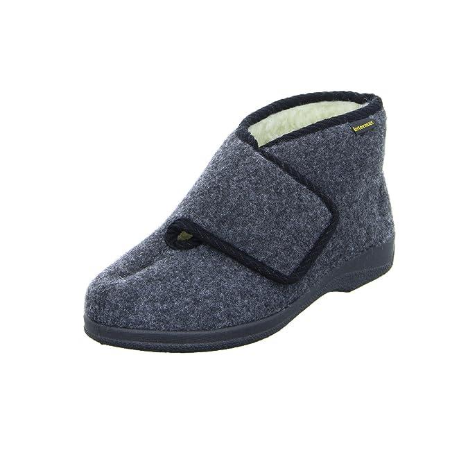 Intermax Herren-Klett-Hausschuhstiefel mit Schurwolle schwarz