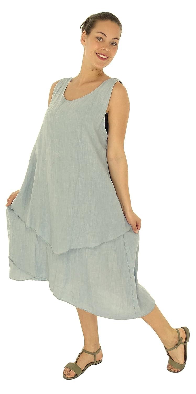 Mein Design Lagenlook de Mallorca Damen Kleid HH800 Tunika Leinen asymmetrisch ohne Arm Used Look