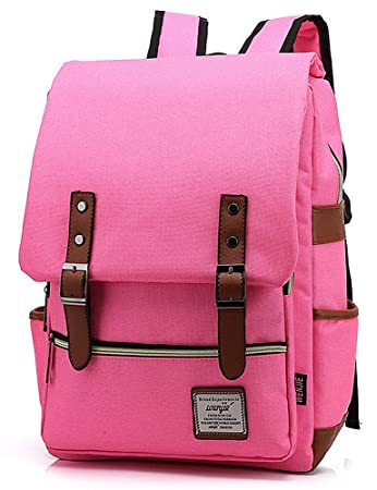 7391b6299 Mn&Sue Vintage Laptop Backpack Canvas College Backpack School Bag Fits  15inch Laptop Hot Pink: Amazon.in: Toys & Games