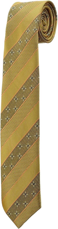 Corbata Fine Slim de rayas amarillo mostaza flor design Oh La ...
