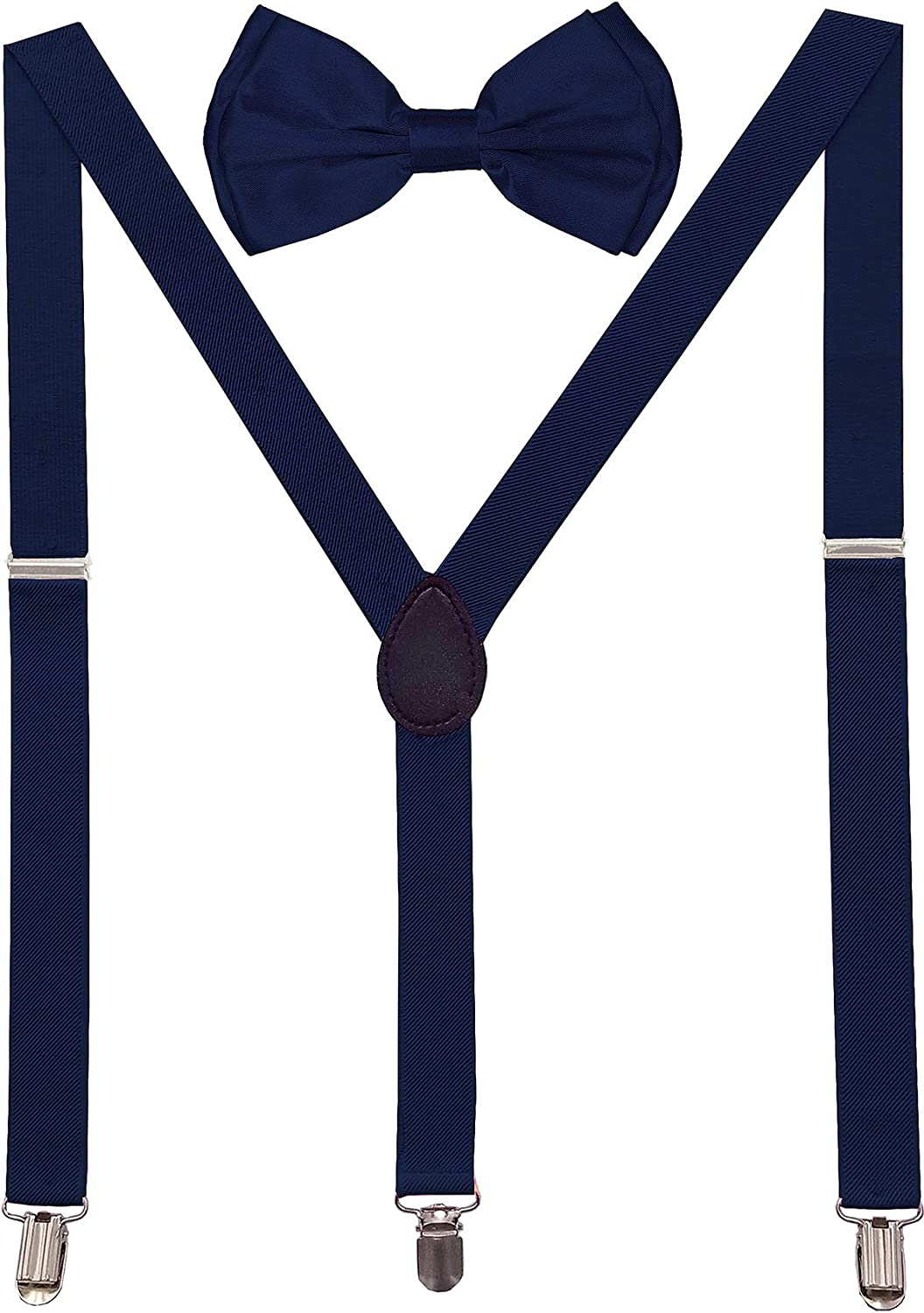 Navisima Adjustable Elastic Y Back Style Suspender with Bowtie Set for Men/and Women with Strong Metal Clips