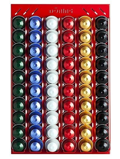 Portacápsulas Dispensador de cápsulas CoffeeRack Wall N60 rojo para Nespresso