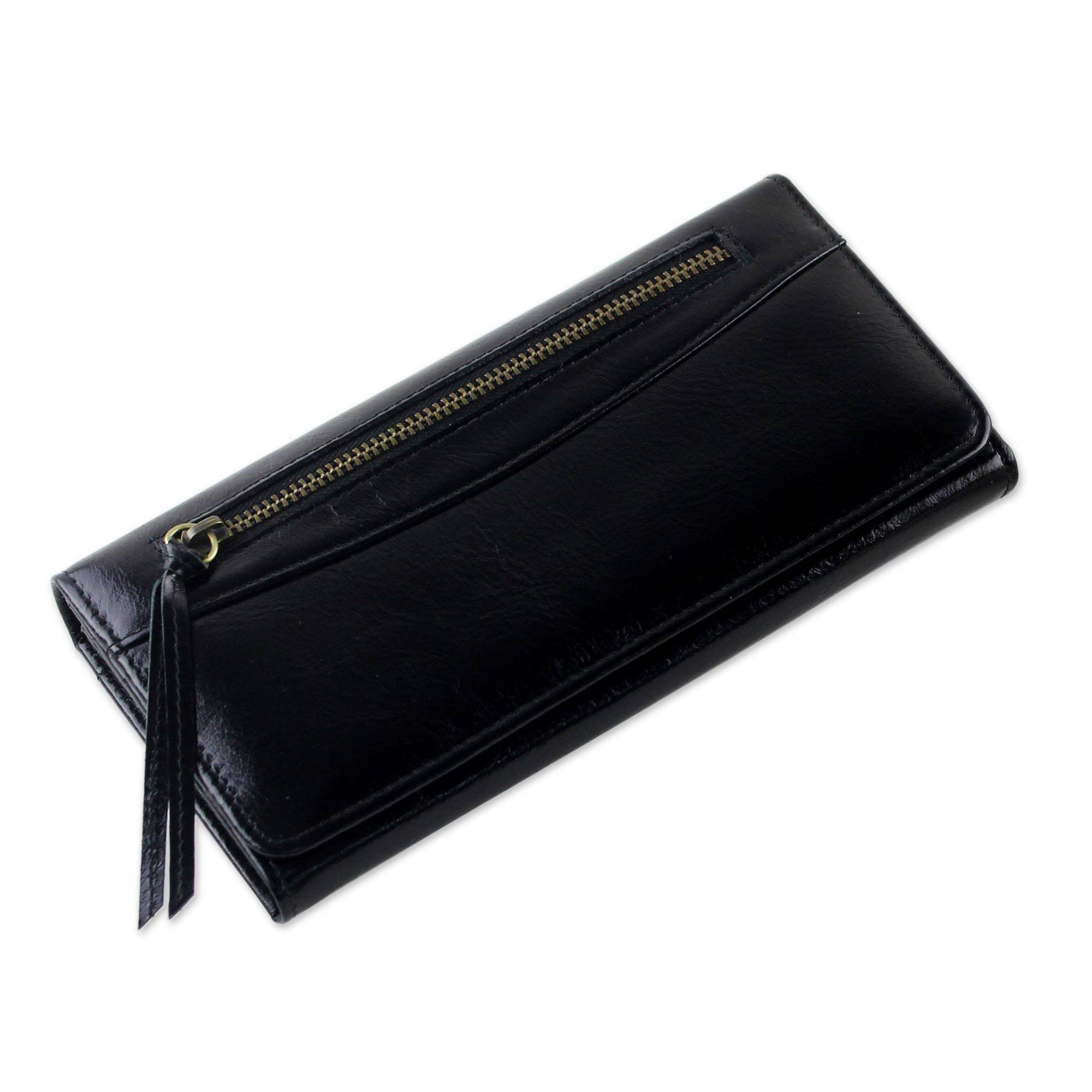 NOVICA Black Leather Clutch, 'Touch of Love in Black'