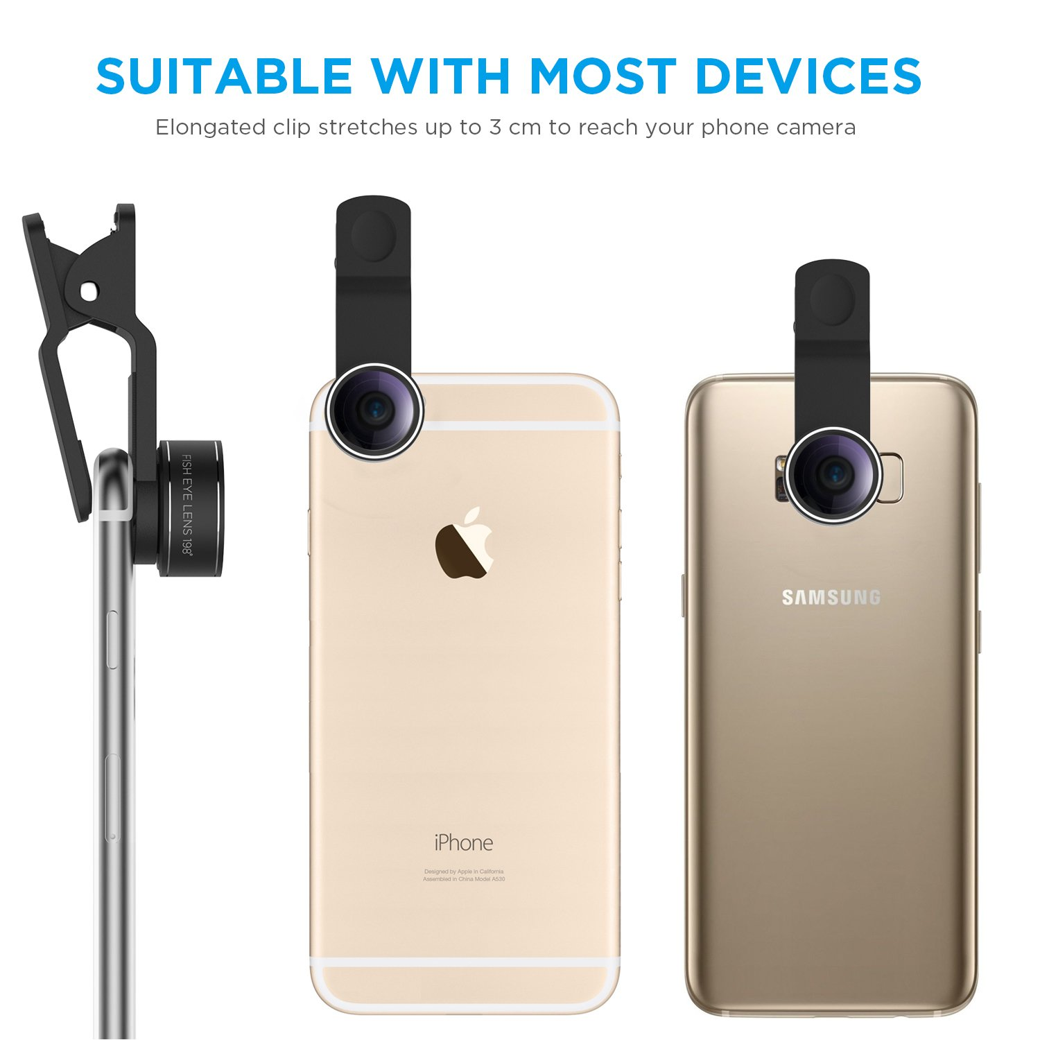 TURATA iPhone Lens 4 in 1 Lens Kits, 198°Fish Eye + 0 63X Wide Angle + 15X  Macro + CPL Lens, HD Clip-on Lens Kits for iPhone 8, 7, 6s, 6, 6 Plus, 6s