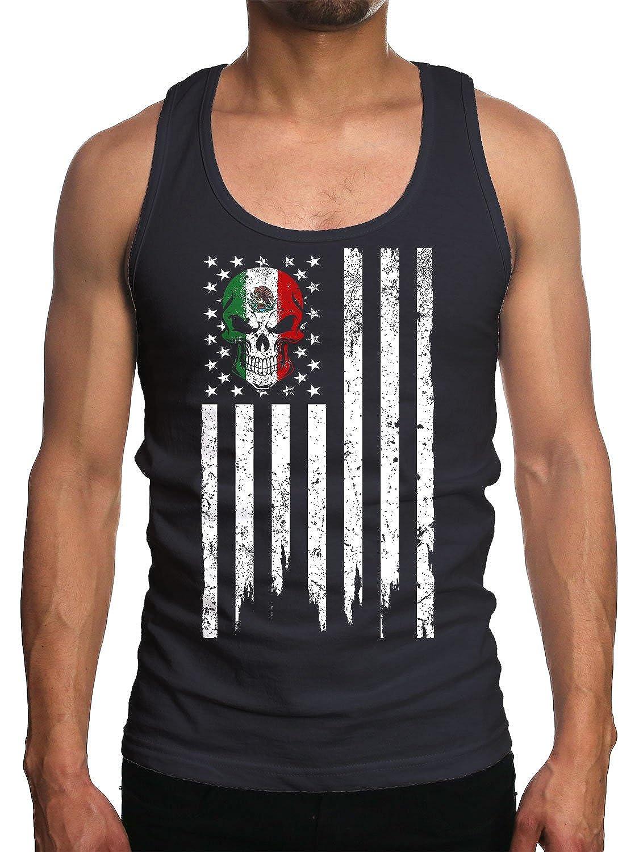 Young Motto Men's MEXICAN AMERICAN SKULL Tank Top 1336617-TT