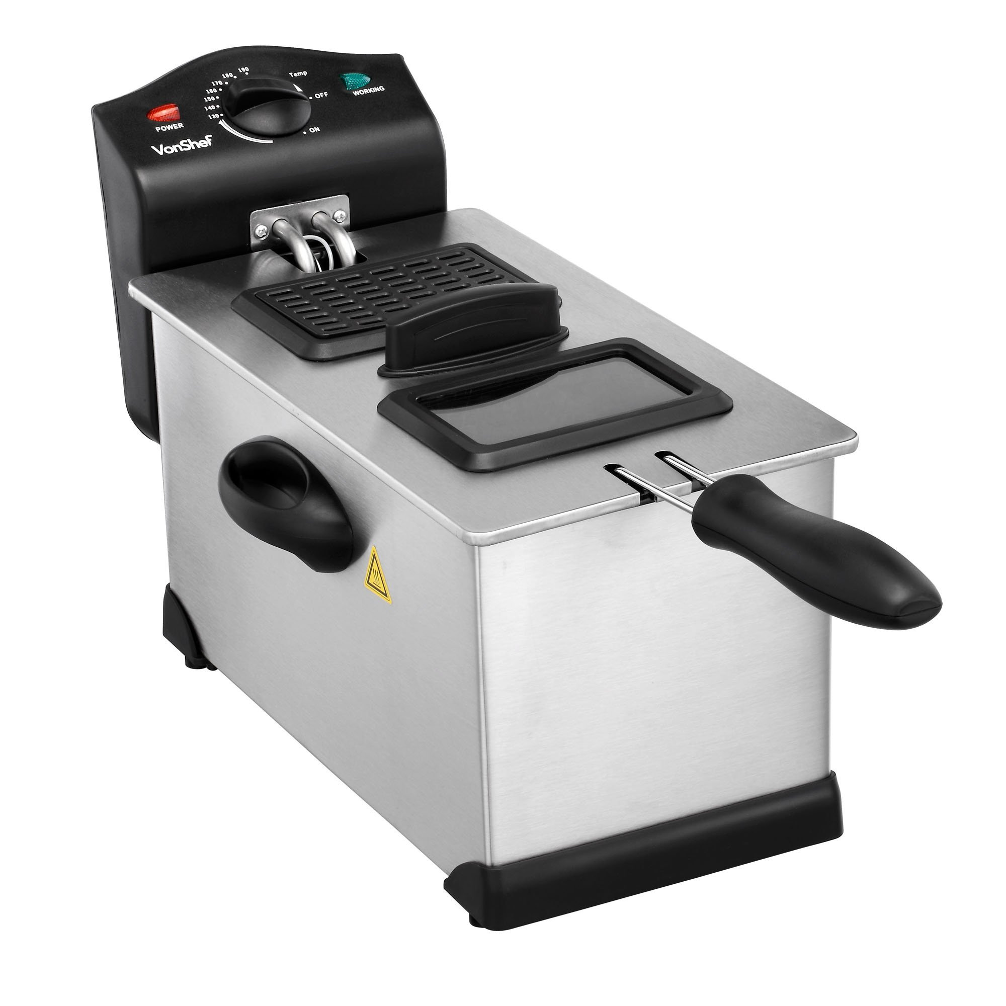 VonShef Deep Fryer with Basket and Viewing Window - 3 Oil Litre - Stainless Steel - Non-Stick, Easy Clean