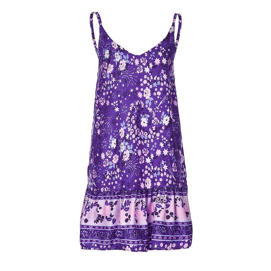 Xiaojmake Women's Sleeveless Floral Print Empire Waist Backless Flowy Boho Mini Tank Dress Purple by Xiaojmake (Image #1)