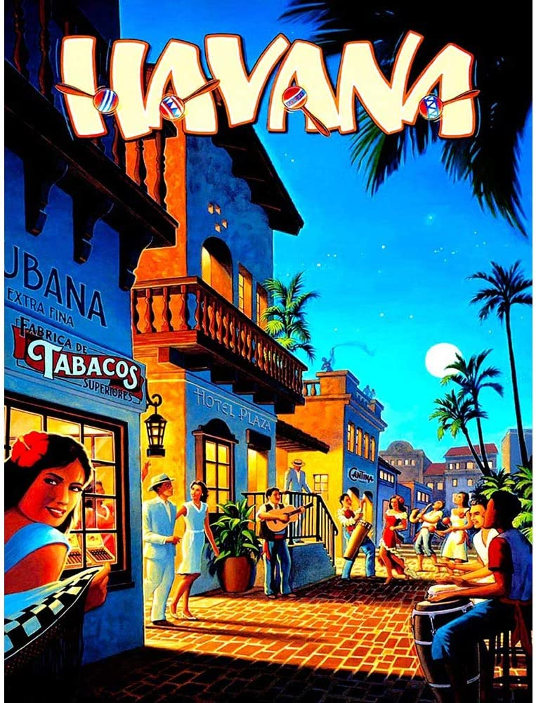 Wee Blue Coo Travel Tourism Havana Cuba Street Scene Music Dance Bongo Palm Moon Unframed Wall Art Print Poster Home Decor Premium