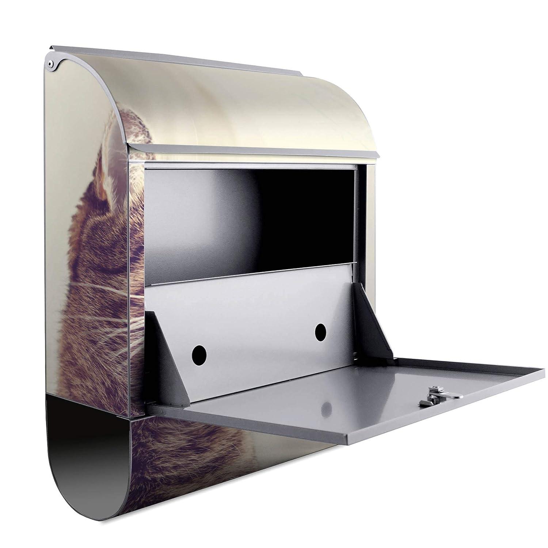 Banjado Design Briefkasten mit Motiv Holgerson A4 Einwurf 2 Schl/üssel Montagematerial mit Beschriftung inkl Stahl pulverbeschichtet mit Zeitungsrolle Gr/ö/ße 38x47x14cm