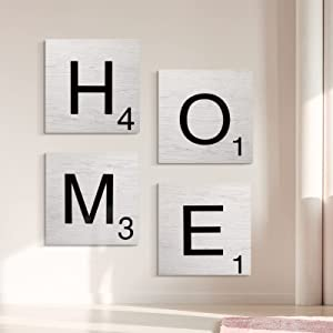 Jetec 4 Pieces Farmhouse Home Sign Decor Rustic Wooden Home Decor Wall Hanging Wooden Signs for Home Decorations Living Room Bedroom Kitchen Entry Way Room Accessories, White