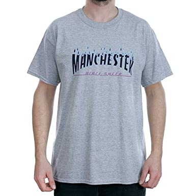 ee20976a Black Sheep Manchester Rain Of Fire Sport Grey T-Shirt Small: Amazon.co.uk:  Clothing