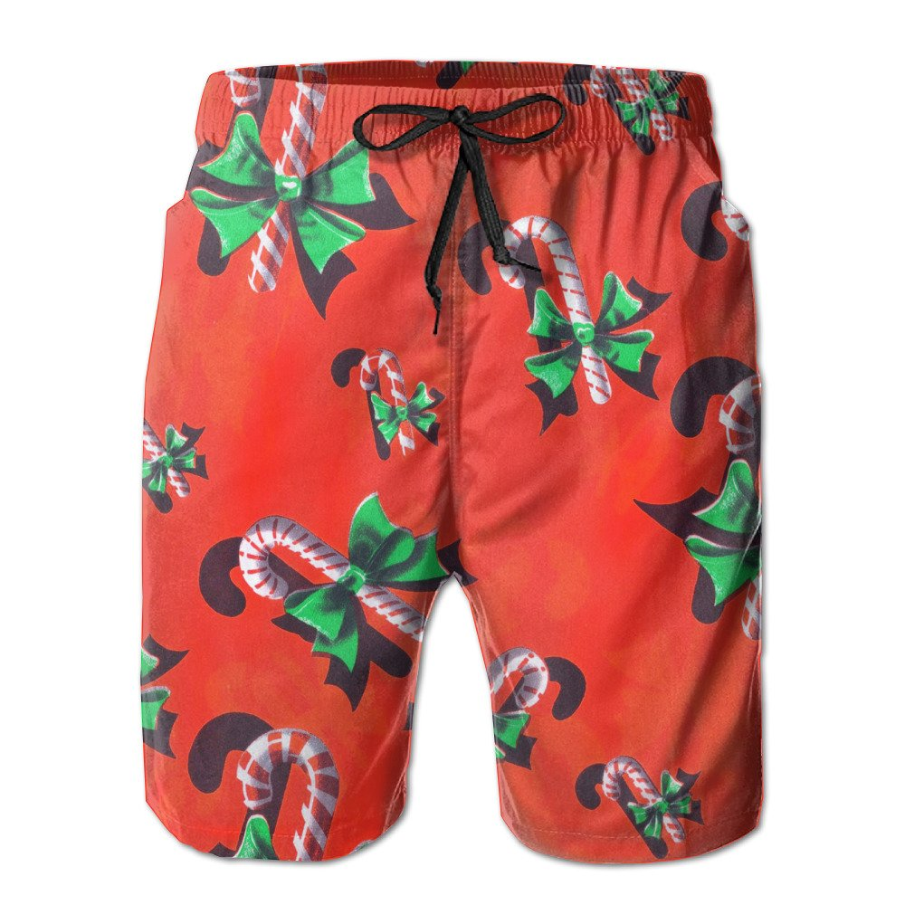 FayBrook Men's Candy Cane Christmas Gift Board Shorts Swim Trunks