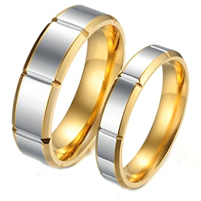 84cc12c630 Amazon.com: Daesar 2 x Men Rings Stainless Steel Rings for Women and Men  Rings Gold Silver Rings Men Size 10 & 10: Jewelry