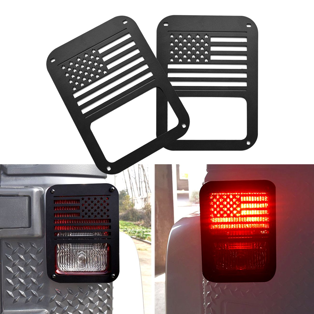 DIYTuning Tail Light Guards for 07-17 Jeep Wrangler JK USA Flag DIYMaker