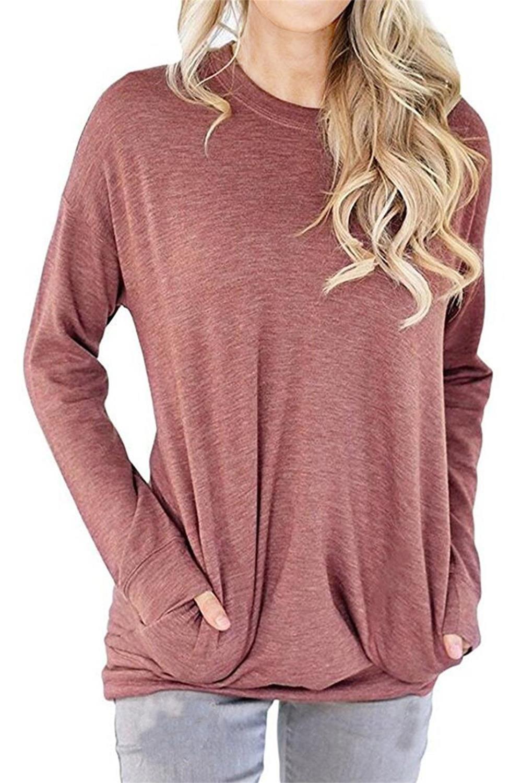 RJXDLT Women's Long Sleeve Loose Shirt Crew Lightweight Sweatshirts Pullover Casual Tops Sweatshirt with Pocket Light red L