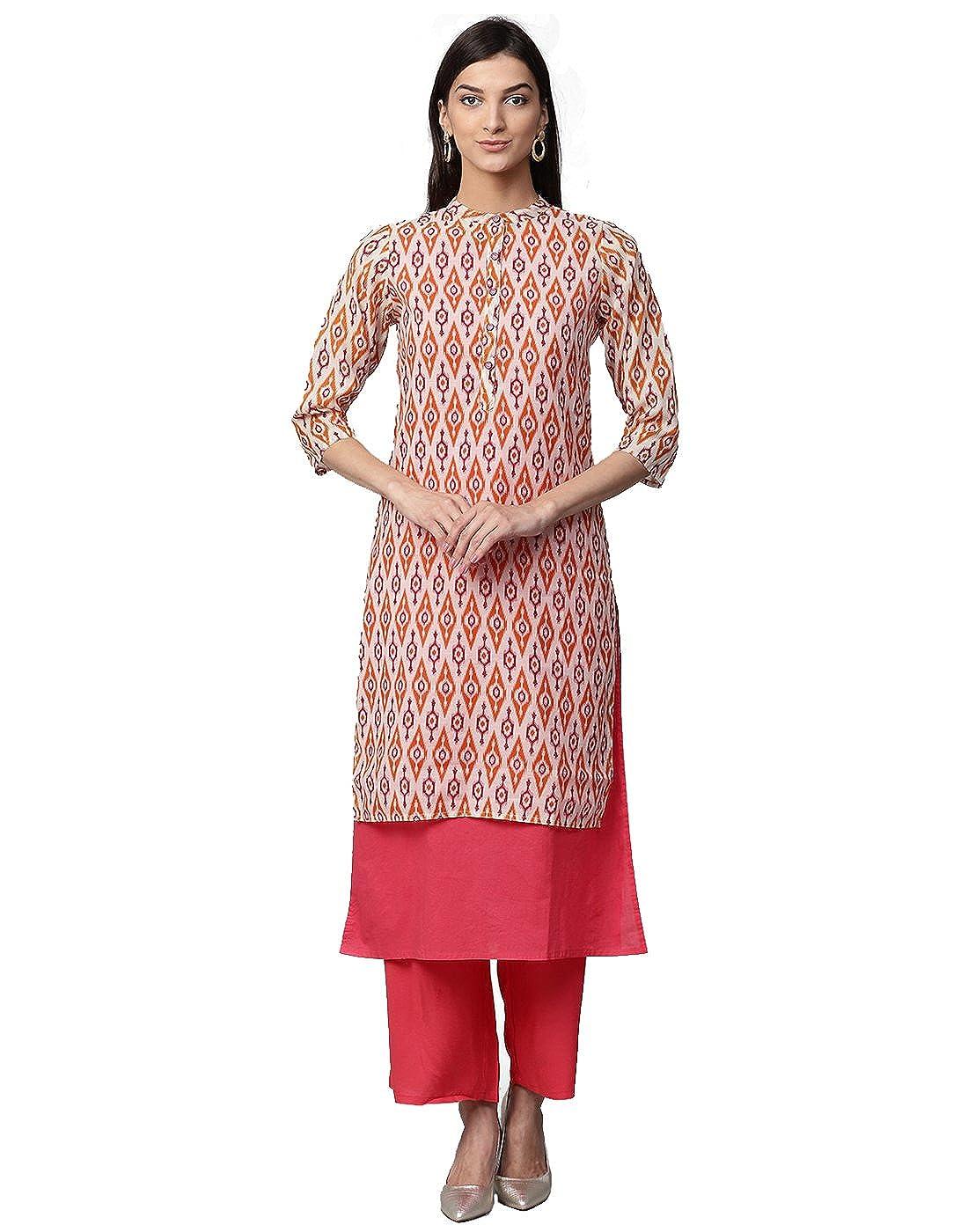 Jaipur Kurti Women Ethnic Casual Tunic Top Summer Dress Ikat Print Layered Chanderi & Cotton Kurta & Palazzos (Pink)
