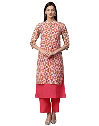 7e9595eb51 Jaipur Kurti Women Ethnic Casual Tunic Top Summer Dress Ikat Print Layered  Chanderi & Cotton Kurta & Palazzos (Pink): Amazon.co.uk: Clothing