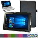 """Dell New Latitude 11 5175 Case,Mama Mouth PU Leather Folio 2-folding Stand Cover for 10.8"""" Dell New Latitude 11 5000 Series 5175 Windows 10 Tablet (only for 2016 new model 5175),Black"""