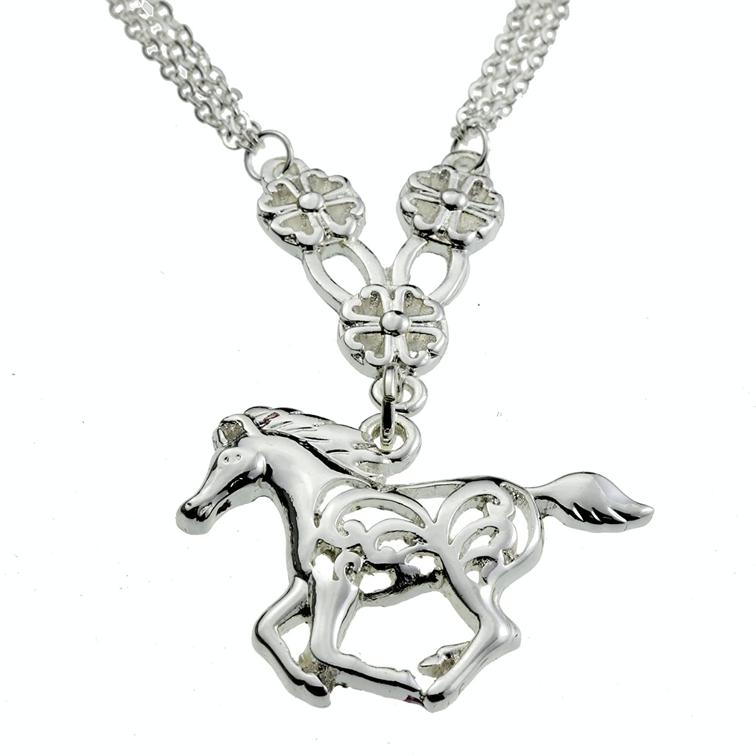 Flower Horse Silver Pendant My Little Pony Necklace Awesome Birthday Gift Jewelry for Girls Women Teen