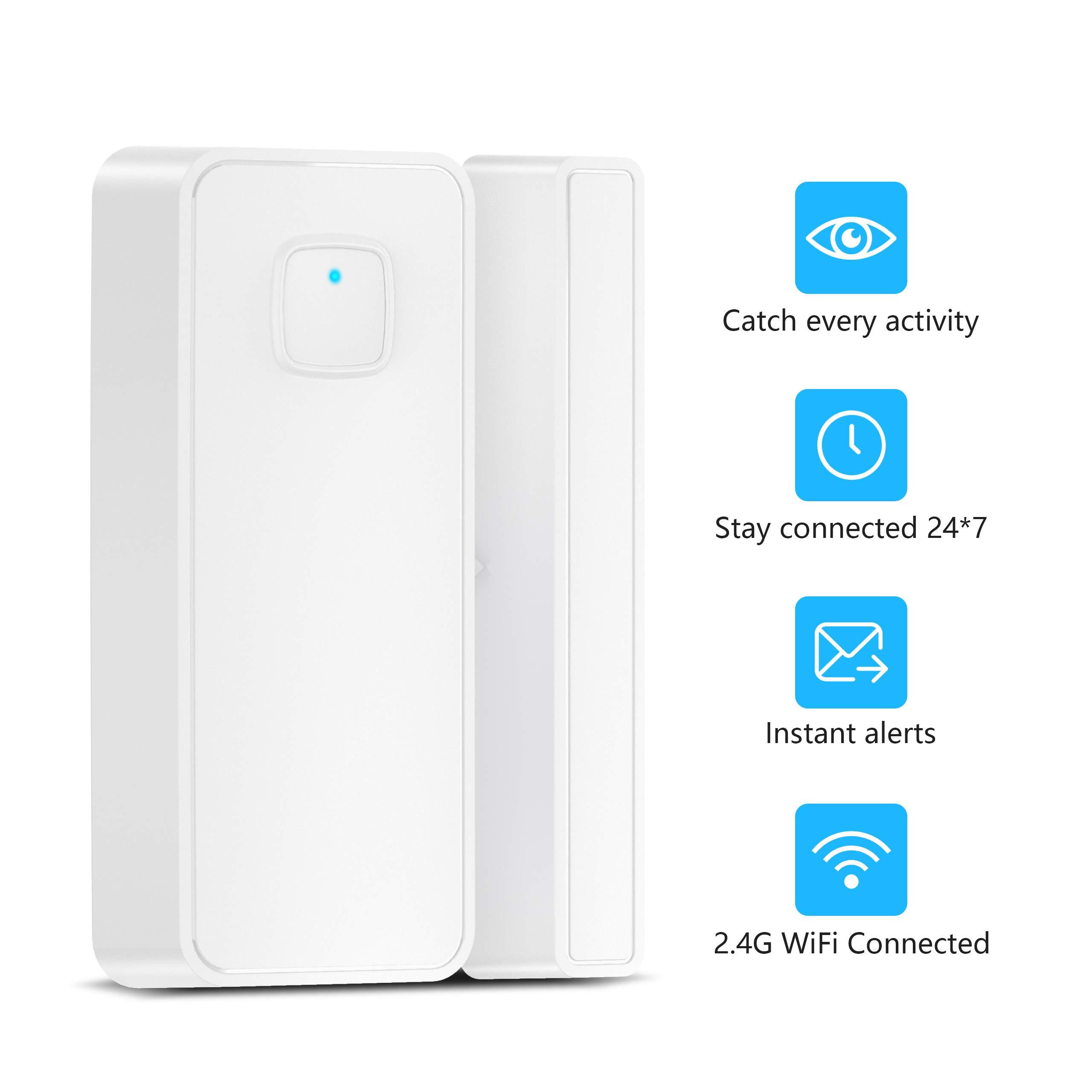 Door Sensor, KASMOTION Wifi Smart Security Magnet Door Window Sensor with Easy App for Home Office,Compatible with Alexa Google Home IFTTT
