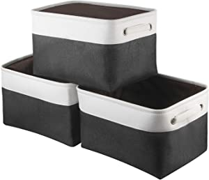 Awekris Large Storage Basket Bin Set [3-Pack] Storage Cube Box Foldable Canvas Fabric Collapsible Organizer with Handles for Home Office Closet Toys Clothes Kids Room Nursery (Grey) (Black and White)