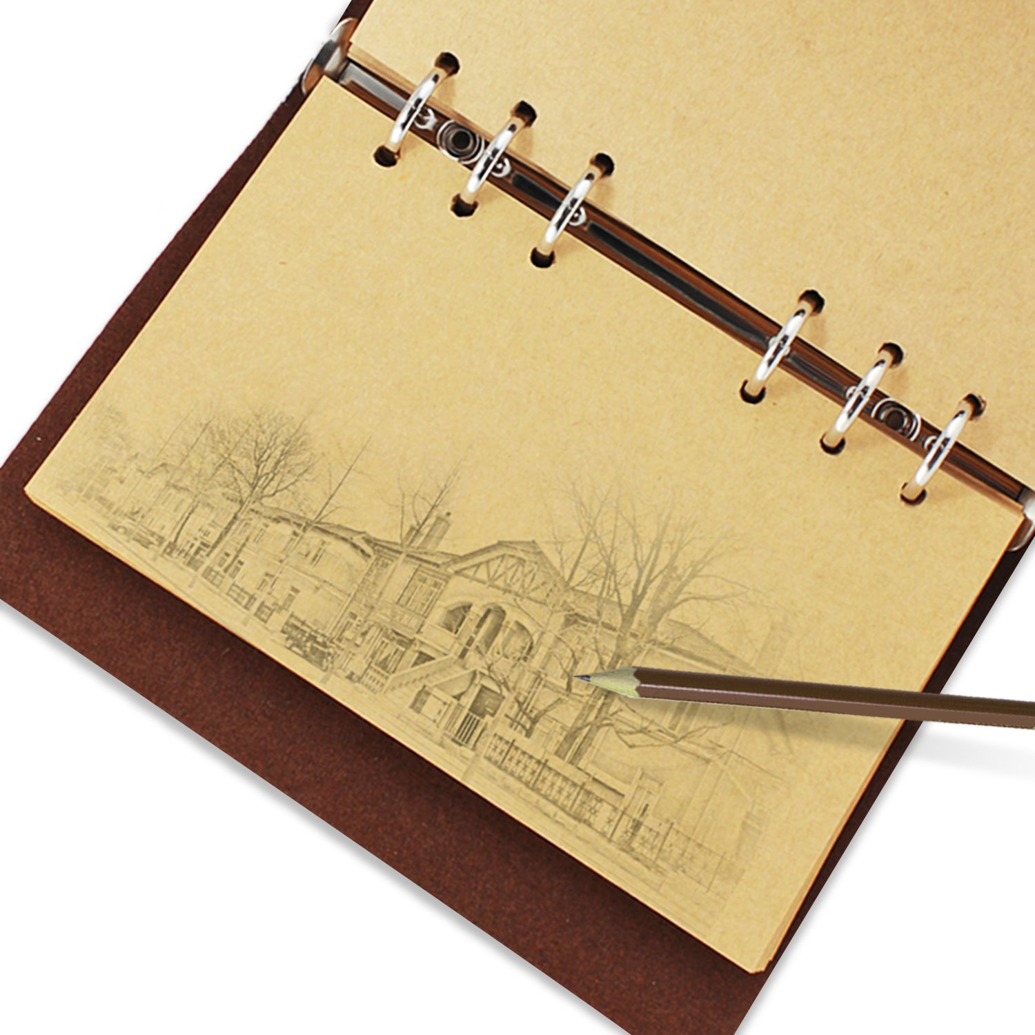 KEESIN Vintage PU Leather Cover Journal Notebook Loose Leaf Blank Notebook Travel Diary Gift Brown