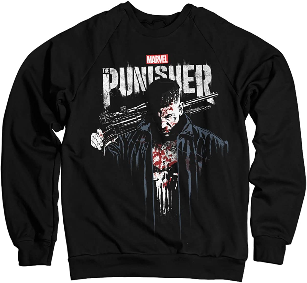 Nera Licenza Ufficiale Marvels The Punisher Blood Felpa